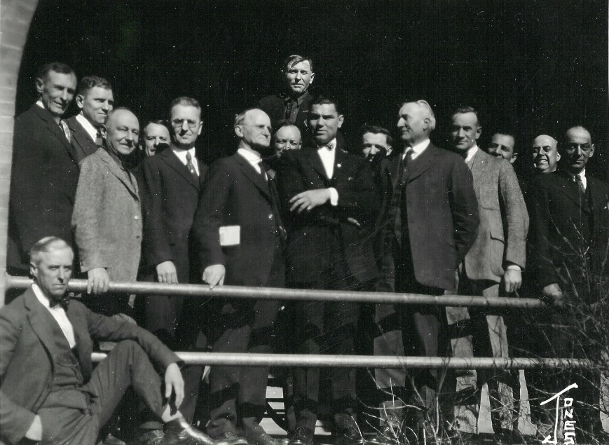 Group of men in Las Vegas, NM, c. 1915. Charles O'Malley seated in foreground.